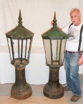 Pr Cast Iron Post Lamps 3 Part Copper Hooded