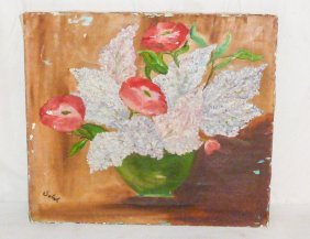 Oil On Canvas Still Life Flowers Signed Sobal