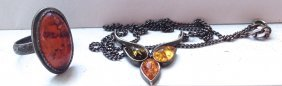 Jewelry: Amber Pendant Necklace & Ring