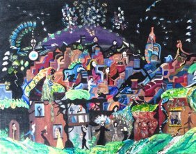 "Urban City Oil Painting ""chicago Blues"" 1970's"