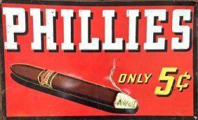 Phillies Cigar Embossed Tin Advertising Sign