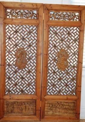 Nineteenth-century Chinese Carved Wooden Door