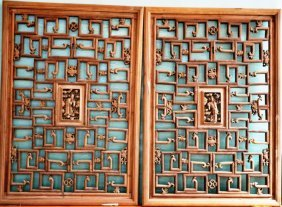 Pin Nineteenth Century Carved Window One Pair