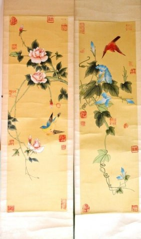A Pair Of Chinese Paintings Of Flowers And Birds