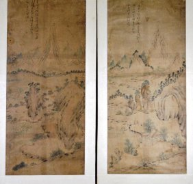 Chinese Qing Dynasty -pair Of Landscape Paintings