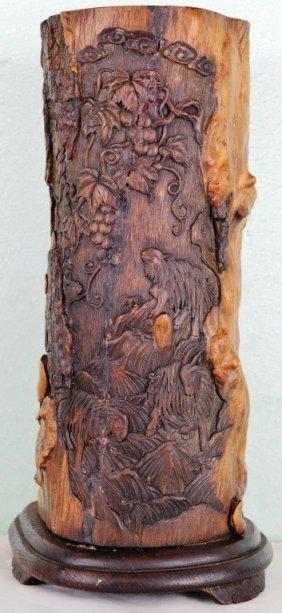 Root Carved Huang Hua Li Qing Dynasty Incense Tube