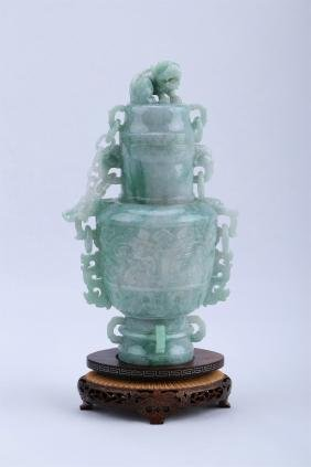 A Chinese Carved Jade Vase Decoration With Base