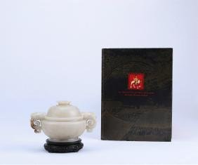 A Chinese Carved White Jade Incense Burners