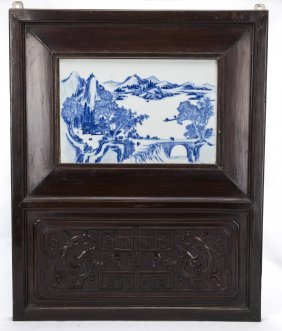 A Pair Of Chinese Screen With Porcelain Plaque Insert
