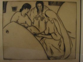 GENE KLOSS Indian Bread Etching