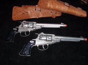 PAIR 11'' ROTATING CYLINDER CAP GUNS
