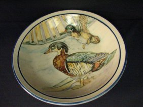 ARTIST SIGNED HAND PAINTED BOWL WITH DUCK