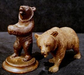 2 Black Forest Carved Wood Bears Standing