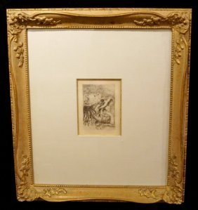 "Framed Renoir Etching ""the Hat Pin"" Sgn. In The Plate"