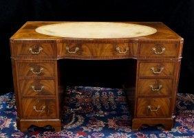 19th C. English Double Pedestal Leather Top Desk