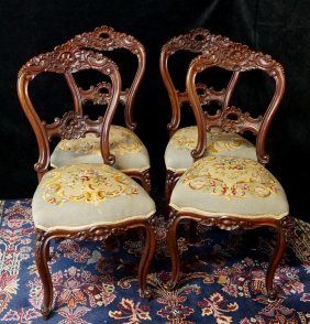 Set Of 4 Needlepoint Upholstered Louis Xv Style Chairs