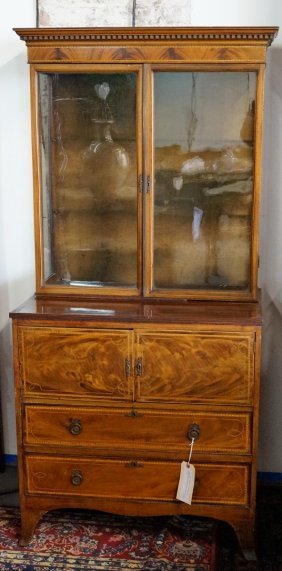 George Iii Inlaid Chest W/ Bookcase Top