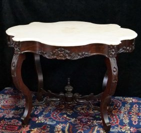Victorian Rosewood Turtle Back Marble Top Table