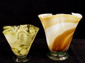 2 Venetian Glass Fluted Vases