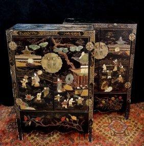Pr. Oriental Double Door Cabinets W/ Hardstone