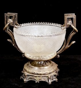 Continental Bronze Mounted Cut Crystal Centerbowl