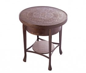 Middle Eastern Copper Table With Arabic And Figures