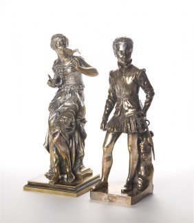 A Pair Of French Bronze Figures Silver Plated, Signed
