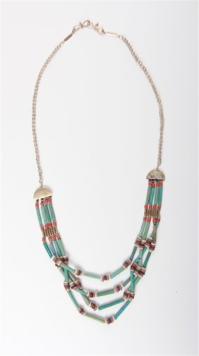 Ancient Egyptian Faience Beads Necklace Set In Gold