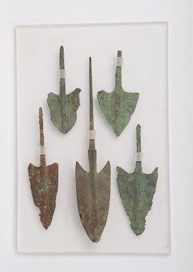 Lot Of 5 Ancient Luristan Bronze Arrow Points C.1000 Bc