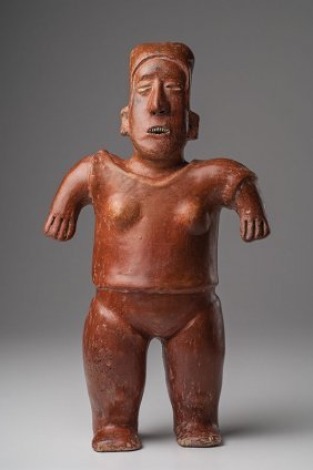 Jalisco Redware Standing Female Figure Mexico C.100 Bc