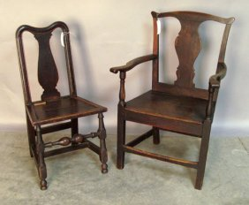 Two English Queen Anne Oak Dining Chairs, Ca. 173
