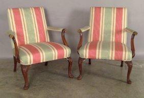 Pair Of Georgian Style Open Armchairs.