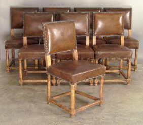 Set Of Eight Jacobean Style Dining Chairs.