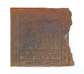 David And Goliath Cast Iron Stove Plate, Late 18t