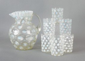 Clear And Opalescent Glass Seven-piece Lemonade S