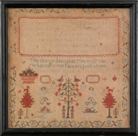 Silk On Linen Sampler, 19th C., Wrought By Mary H