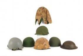 Four U.S. Military Helmets And Liners.
