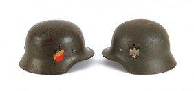 Two German WWII Model 1935 Helmets.