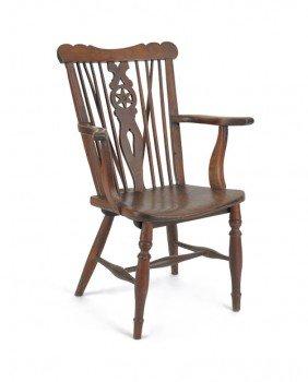 English Yewwood Armchair, 19th C.