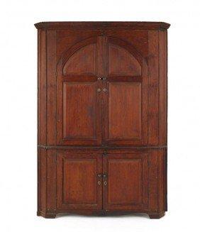 Pine One-piece Corner Cupboard, Ca. 1800, 81'' H.,