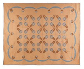 Appliqu? Quilt, Mid 20th C., With Berry And Folia