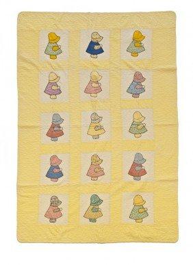Sunbonnet Baby Quilt, Mid 20th C., 86'' X 58''.