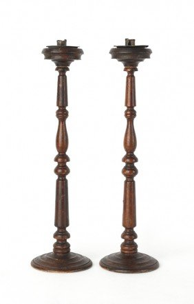 Pair Of Turned Wooden Candlesticks, 19th C., 23''
