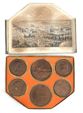 Boxed Set Of Six Philadelphia Exposition Wooden M