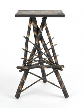 Painted Twig Stand, Ca. 1910, 27 1/4'' H., 15'' W.