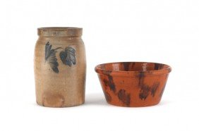 Stoneware Crock, 19th C., 9'' H., Together With A