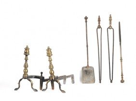 Pair Of Brass Andirons, 19th C., 14 1/2'' H., Toge
