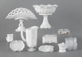 Milk Glass Compote And Pitcher With Grape Pattern