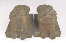 Pair Of Cast Iron Recumbent Lion Lawn Ornaments,