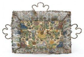 Charles II Beadwork Basket, Late 17th C., Initi